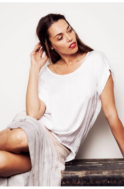 Camiseta satinada ovesize de manga corta - Blanco