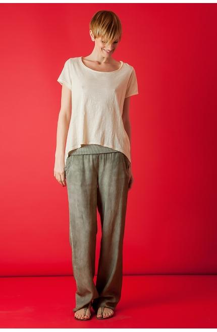 Camiseta de Algodón con espalda de seda corte chaqué - Rosa guess