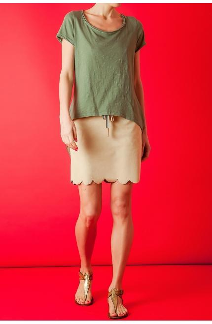 Camiseta de Algodón con espalda de seda corte chaqué - Verde