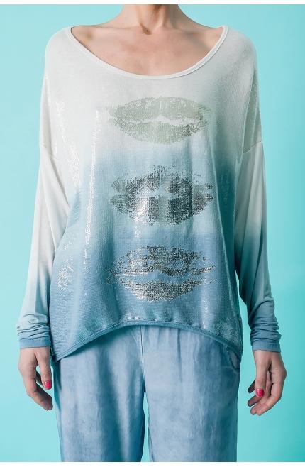 T-shirt con paillettes diseño Labios - Azul