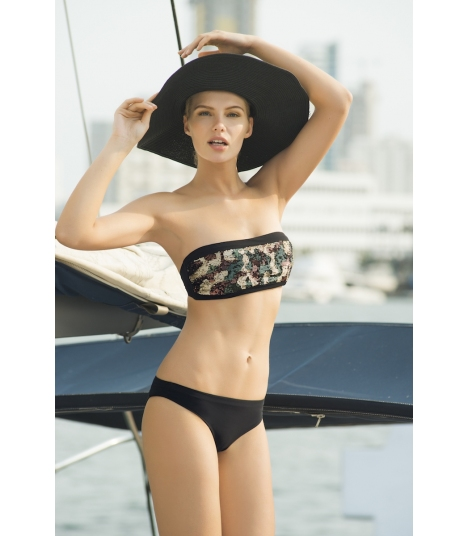 Bikini Touché Bandeau lentejuelas camuflaje