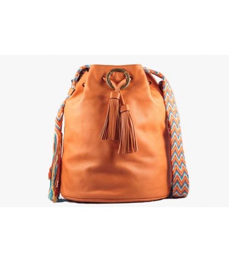 Wayuu Bolso AngieB - Piel Naranja