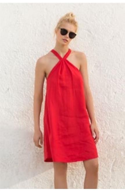 Vestido Corto Touché Rojo.