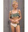 Bikini Bandeau Touché Verde y Crema.