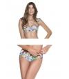 Bikini Bandeau Onda de Mar Estampado Floral.