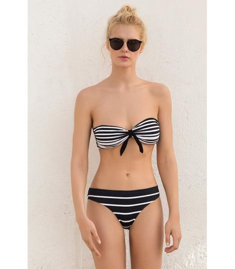 Bikini Bandeau Touché Rayas Blanco y Negro.