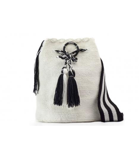 Wayuu Bolso Artesanal - Susuu Girls Blanco y Negro