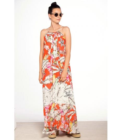 Vestido Largo Touché Estampado Floral.