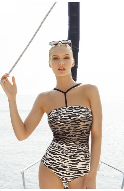 Bañador Touché bandeau estampado zebra