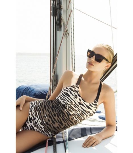 Bañador Touché clásico estampado zebra