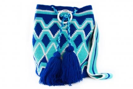 Wayuu Bolso Artesanal - Susuu Girls Rombo Geométrico Azules