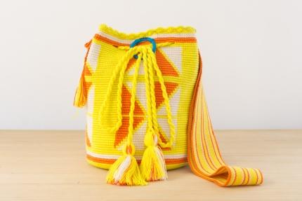 Wayuu Bolso Artesanal - Susuu Girls Étnico Geometrico limon