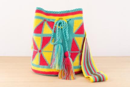 Wayuu Bolso Artesanal - Susuu Girls Étnico-Tres en raya Aguamarina