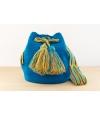 Wayuu Bolso Artesanal - Susuu Azul / Asa colores verdes y naranjas