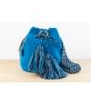 Wayuu Bolso Artesanal - Susuu Azul / Asa en colores grises y negros