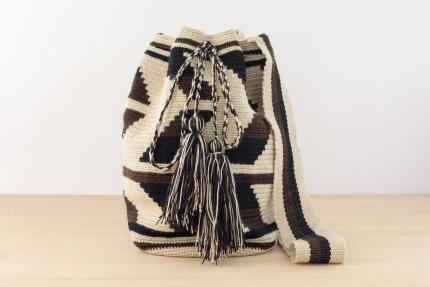 Wayuu BolsoArtesanal - Susuu Original Beige y Negro