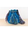 Wayuu Bolso Artesanal - Susuu Azul / Asa con colores morados y amarillos