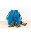 Wayuu Bolso Artesanal - Susuu Azul / Asa en colores verdes, rojos y amarillos