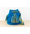 Wayuu Bolso Artesanal - Susuu Azul / Asa en colores verdes, amarillos y blancos