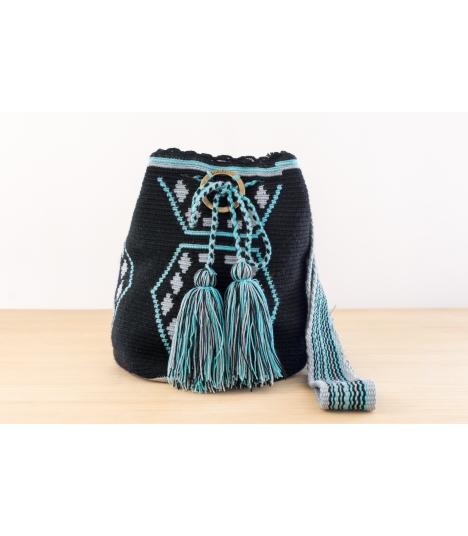 Wayuu Bolso Artesanal - Susuu Étnico Negro