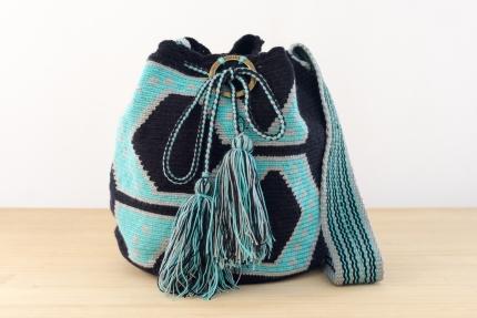 Wayuu Bolso Artesanal - Susuu Étnico Negro y Aguamarina